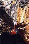 Jerry Moffat on 'Nutsa' 8A+/V12, Roadside Boulders, Rocklands