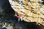 Andrew Pedley on Cedar Spine 7B, Roadcrew Boulders, Rocklands